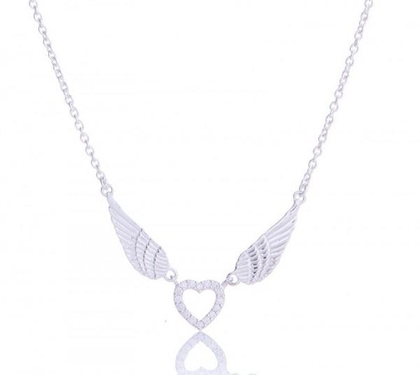 Herz mit Zirkonia an Flügelkette