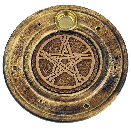 Runder Räucherstäbchen und Kegelhalter mit Pentagramm