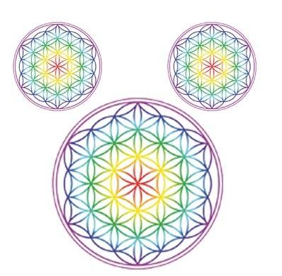 """3er Sticker-Set """"Blume des Lebens"""", mit Regenbogen-Chakren"""