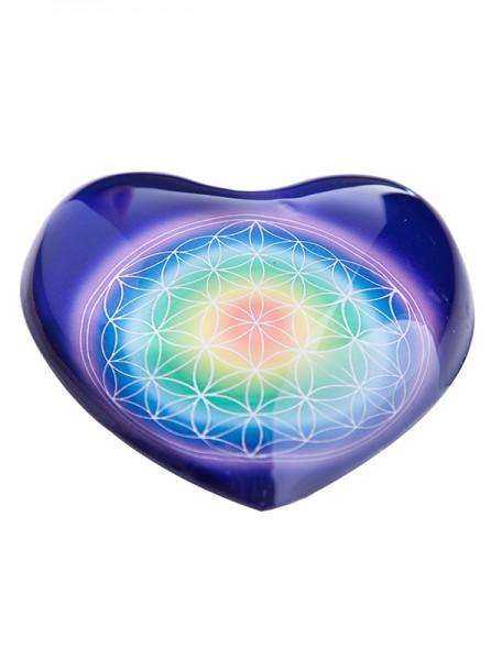 """Herz """" Blume des Lebens"""" aus Glas"""