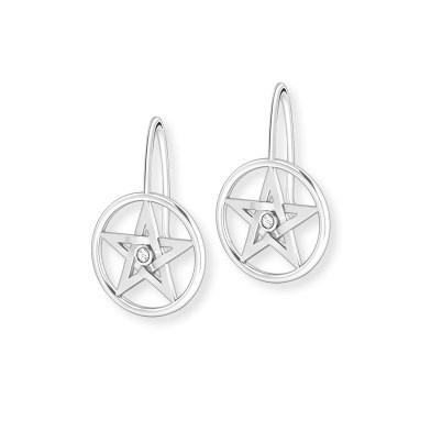 Ohrhänger Pentagram mit einem Zirkonia