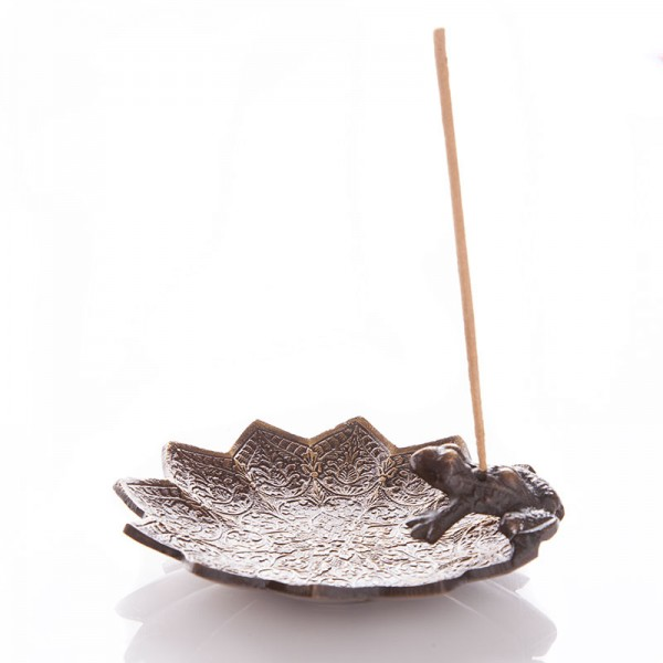 Frosch auf Lotusblatt - Räucherstäbchenhalter