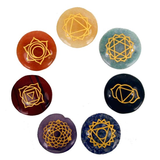 7 Chakra Symbolsteinen (rund)